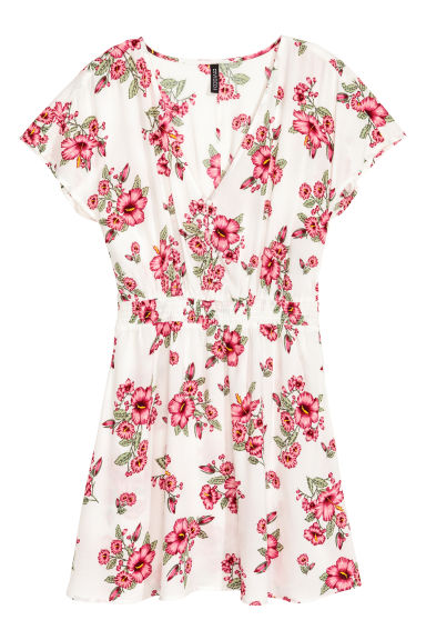 V領洋裝 - White/Floral - Ladies | H&M 1